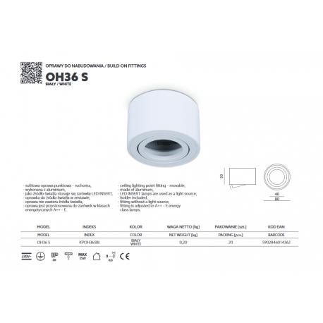 LAMPA NATYNKOWA TUBA RUCHOMA OH36S KPOH36SBI KOBI----zapytaj o dostępność na magazynie----